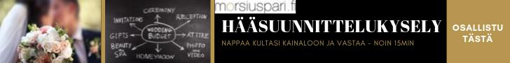 morsiuspari.fi-sivuston vuoden 2019 suuri hääsuunnittelukysely -  Vastaa ja osallistu kuukausiarvontoihin